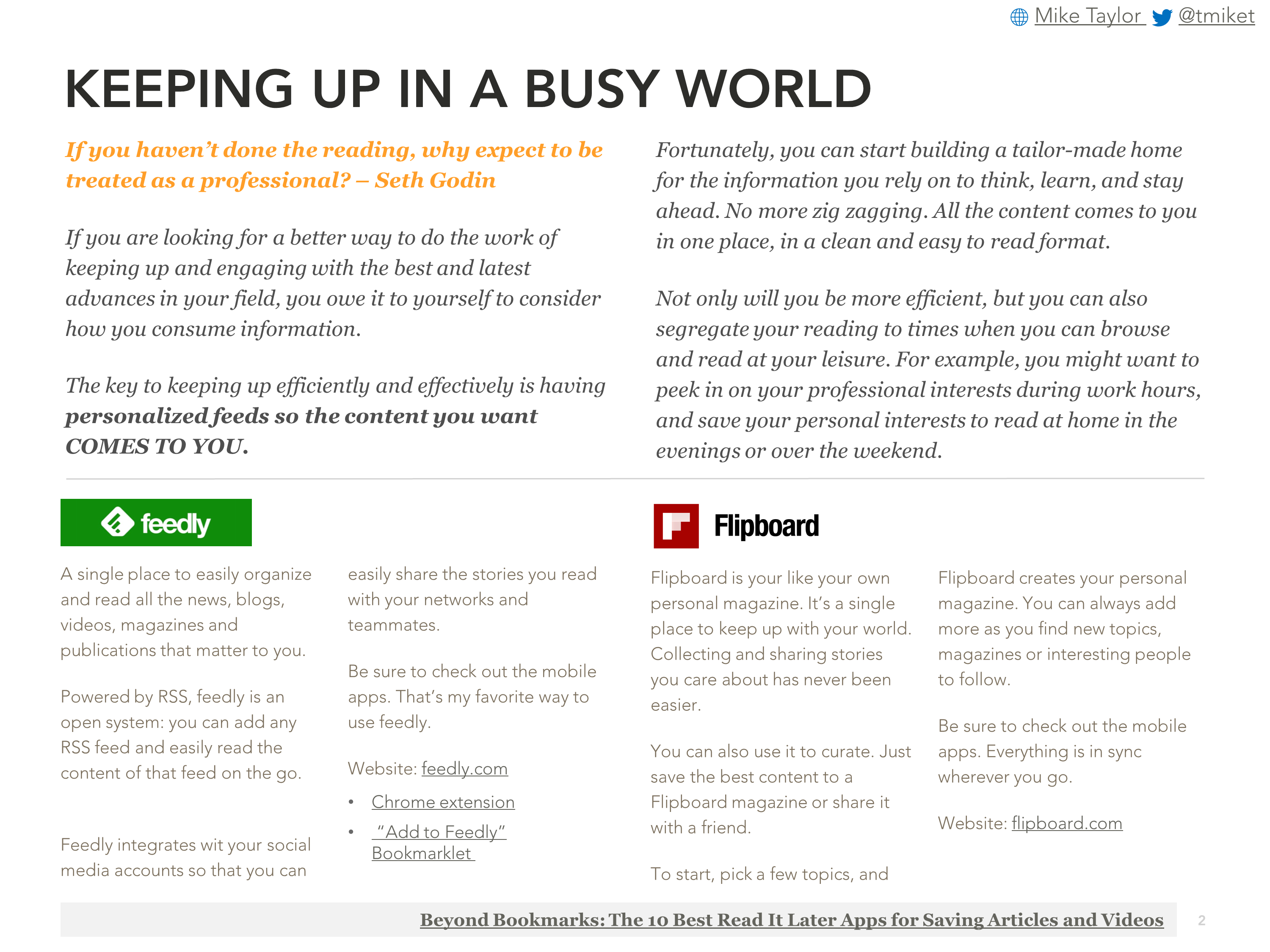 TAKE AWAY: Creating Your Own Personalized Information Feed