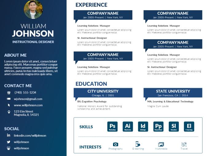 Free PowerPoint Visual ResumeTemplate