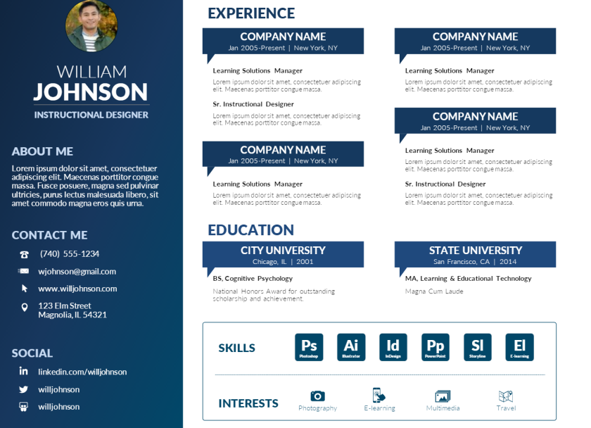 free powerpoint visual resume template  u2013 mike taylor