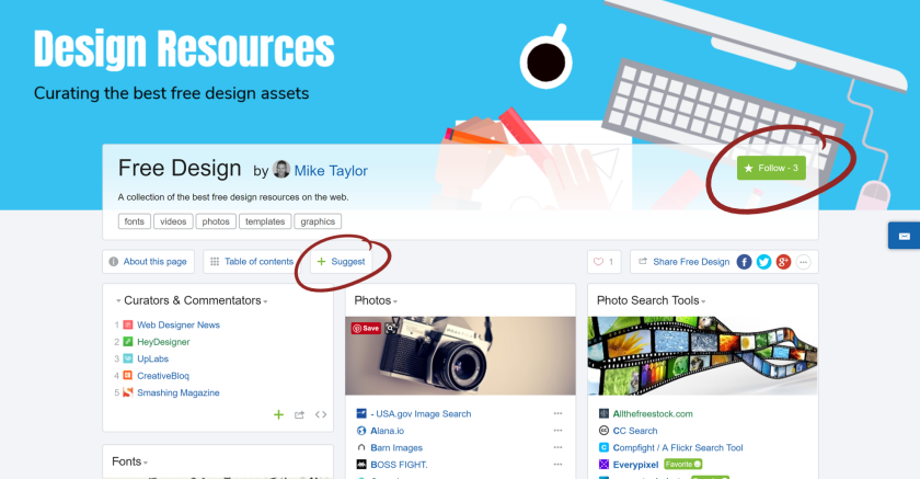 Resources for free design assets curated by Mike Taylor