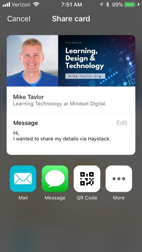 Haystack App-Sharing Your Contact Info